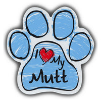 Blue Scribble Dog Paw Magnet - I Love My Mutt