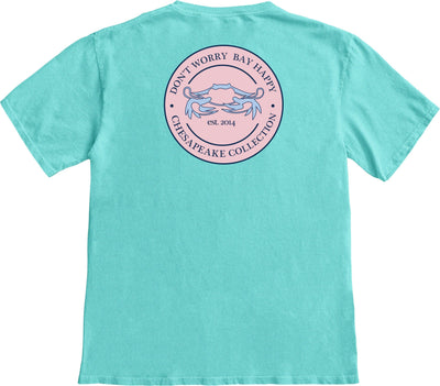 """Bay Happy"" Pink Seal T-shirt - Chesapeake Collection"