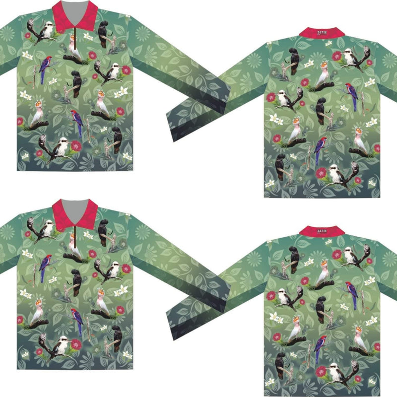 Australian Birds (Green) Fishing Shirt  - Kids and Adults