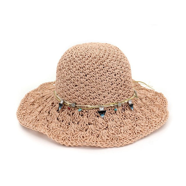 2018 Fashion Wide Large Brim Floppy Summer Beach Sunhats for Women Straw Cap with Shell Pearl Bow Cap for Girls CM031