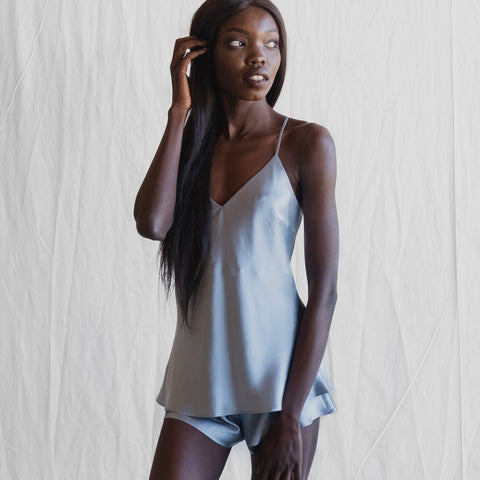 Camisole and French Knicker Set - Sydney Blue