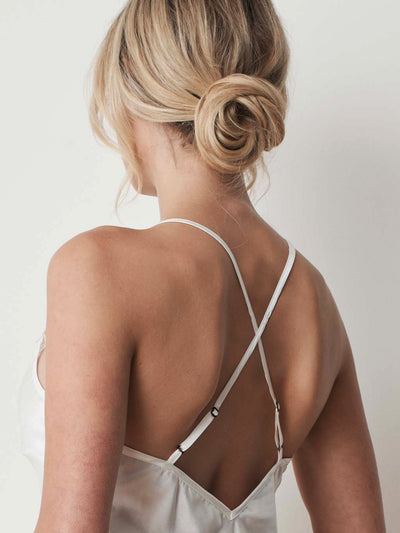 Silk satin camisole in ivory straps
