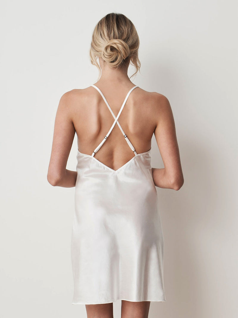 Silk cotton ivory slip front