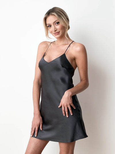 Silk satin charcoal slip front