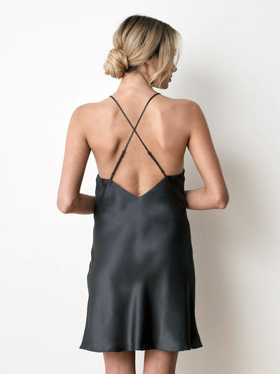 Silk satin charcoal slip back