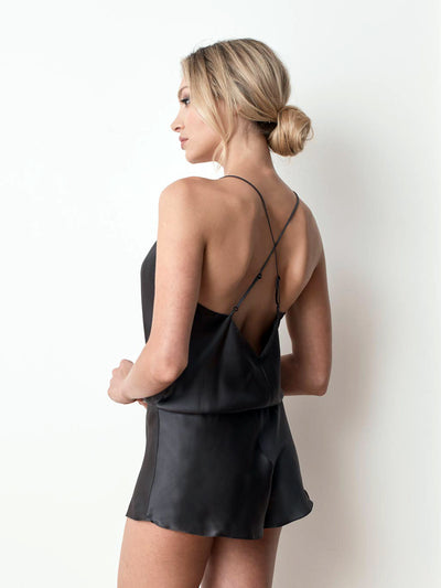 Silk satin playsuit in charcoal back