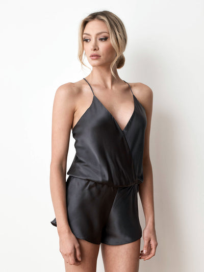 Silk satin playsuit in charcoal front