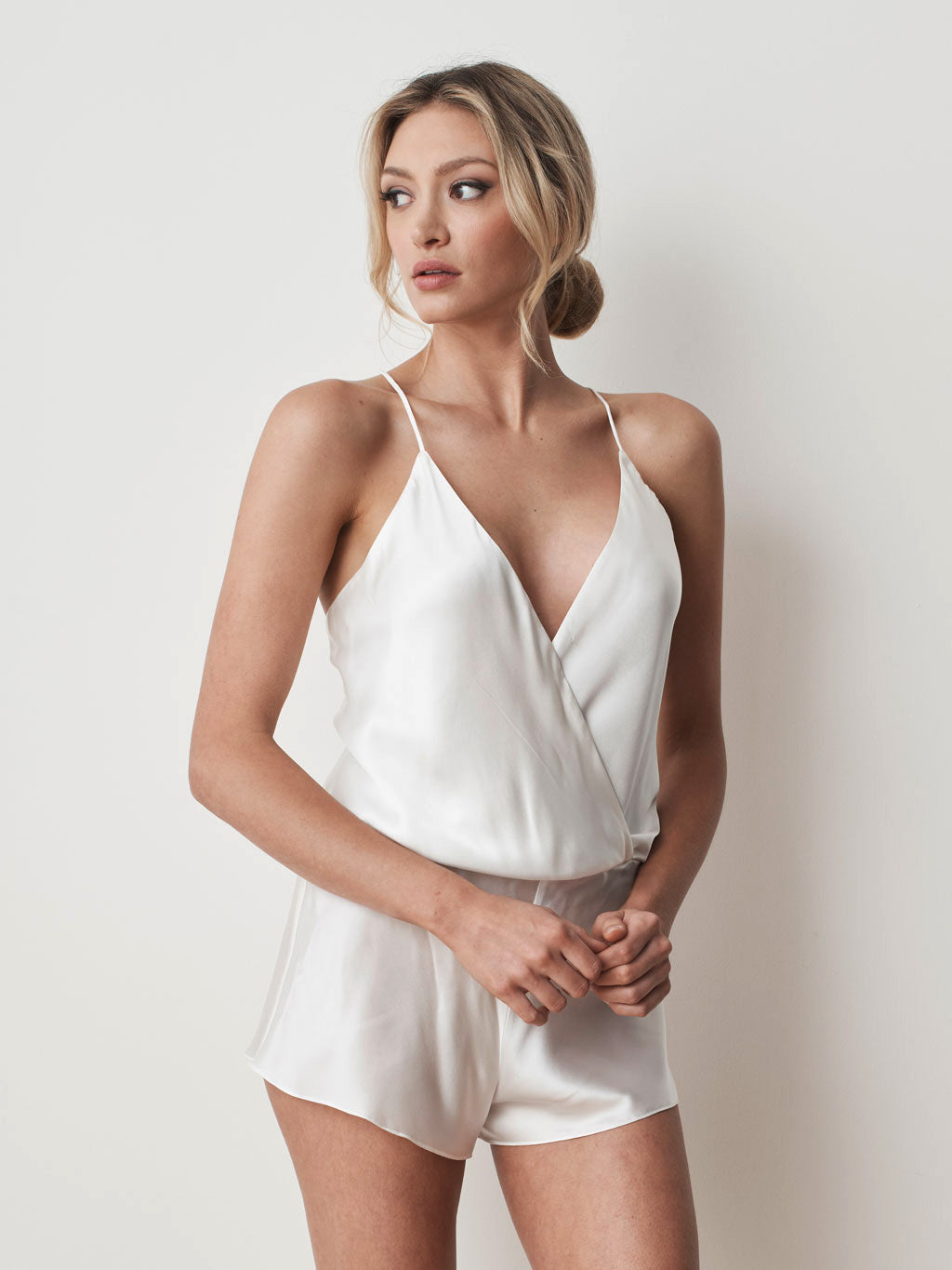 Silk cotton playsuit in ivory front
