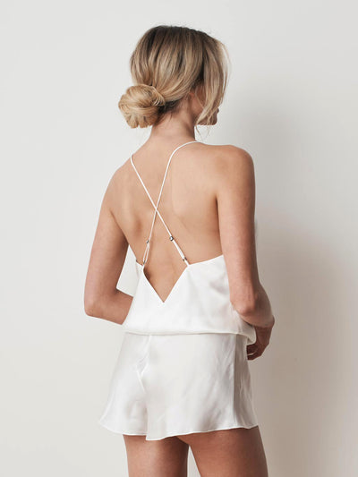 Silk cotton playsuit in ivory back