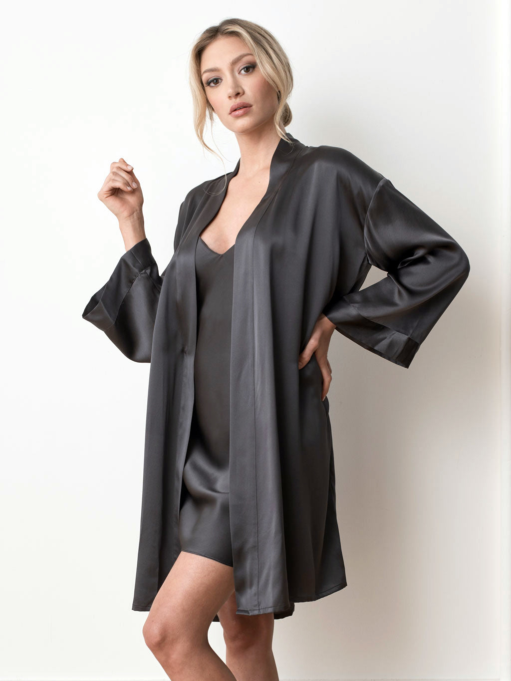 Silk satin charcoal robe front
