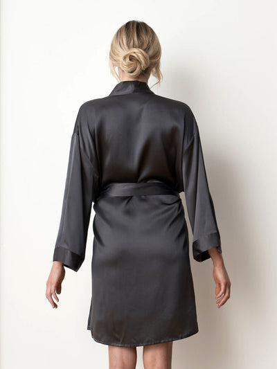 Silk satin charcoal robe back