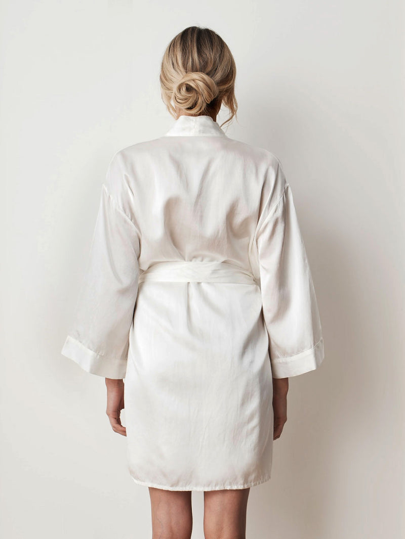 Silk satin ivory robe front