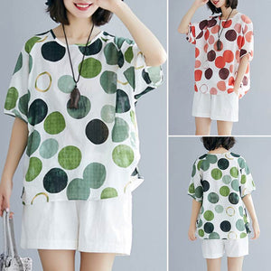 Women's Short Sleeve Dot Top
