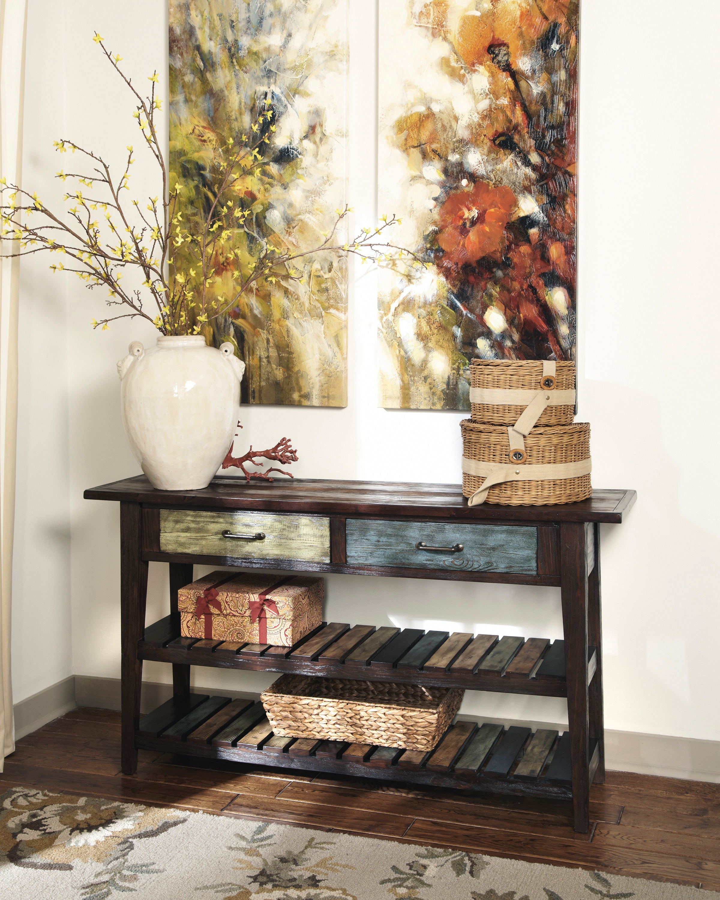 Table console Ashley Mestler Rustic Brown