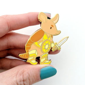Seconds sale! Armadillo Paladin Enamel Pin - Paola's Pixels