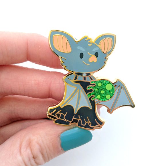 Seconds sale! Bat Sorcerer Enamel Pin with Glitter - Paola's Pixels