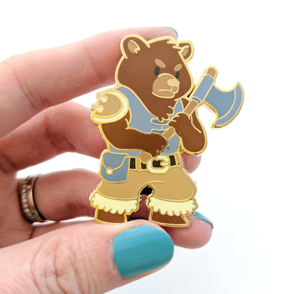 Seconds sale! Bear Barbarian Enamel Pin