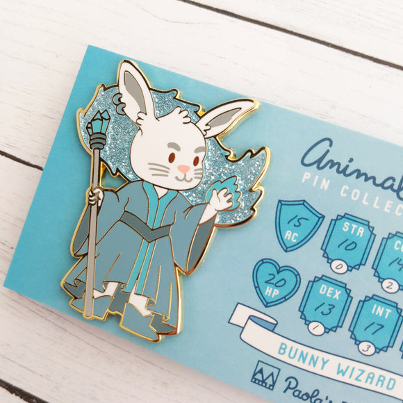 Bunny Wizard Enamel Pin with Glitter