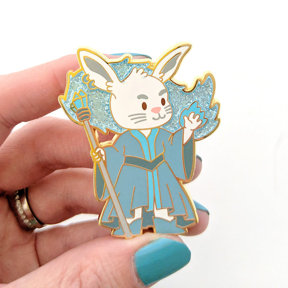 Seconds sale! Bunny Wizard Enamel Pin with Glitter - Paola's Pixels