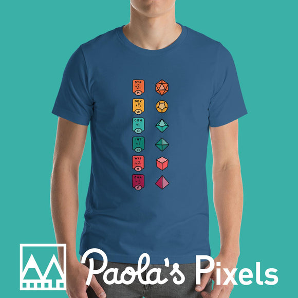 Colorful Character Sheet shirt-Paola's Pixels