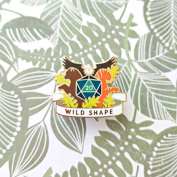 Seconds Sale! Dungeons and Dragons Wild Shape Pin, Druid Dnd Enamel Pin, gifts for geeks, dungeon master gift, tabletop rpg dice