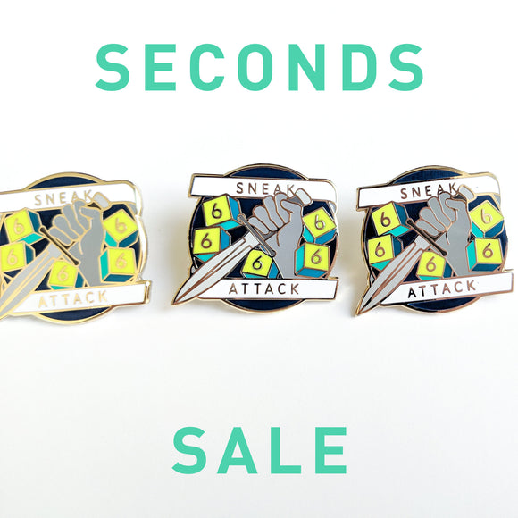 Seconds Sale! Dungeons and Dragons Sneak Attack Pin, Rogue D&D enamel pin, DnD pin, gifts for geeks, dungeon master gift