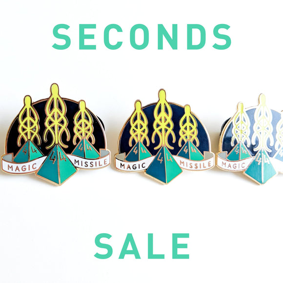 Seconds Sale! Dungeons and Dragons Magic Missile Pin, Wizard DnD Enamel Pin, gifts for geeks, dungeon master gift, tabletop rpg dice