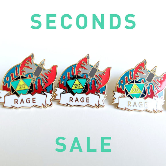 Seconds Sale! Dungeons and Dragons Rage Pin, Barbarian Dnd Enamel Pin, gifts for geeks, dungeon master gift, tabletop rpg dice