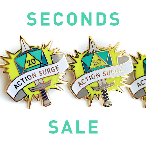 Seconds Sale! Action Surge Dungeons and Dragons Pin, Fighter D&D pin, DnD Enamel pins, gifts for geeks, dungeon master gift