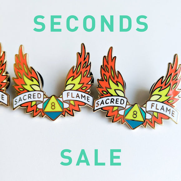 Seconds Sale! Dungeons and Dragons Sacred Flame Pin, Cleric Dnd Enamel Pin, gifts for geeks, dungeon master gift, tabletop rpg dice
