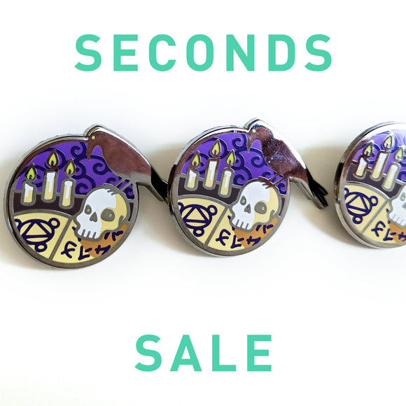 Seconds Sale! Dungeons and Dragons Necromancer Pin, Warlock Pin, Wizard enamel pin, Skull enamel pin, Crow enamel pin, D&D gift