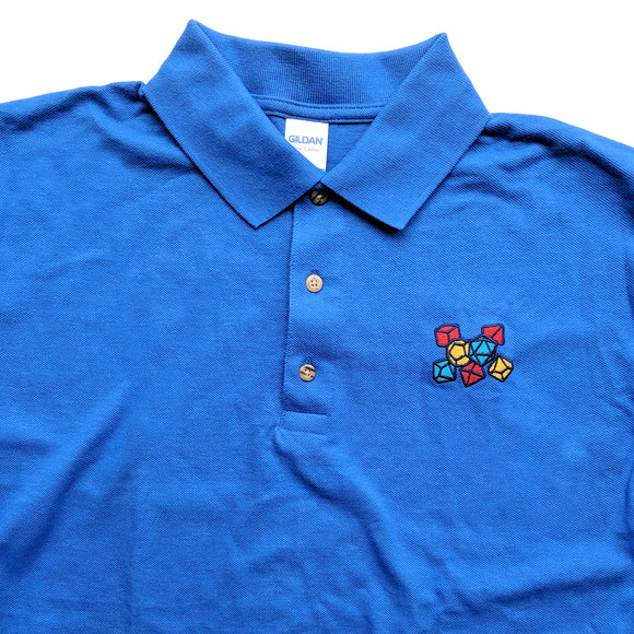 Primary Color Dice Embroidered Polo Shirt - Paola's Pixels