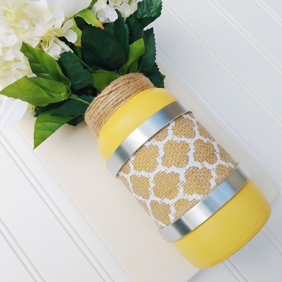 Warm Yellow Mason Jar Laugh Wall Plaque Sconce | Modern Country Place
