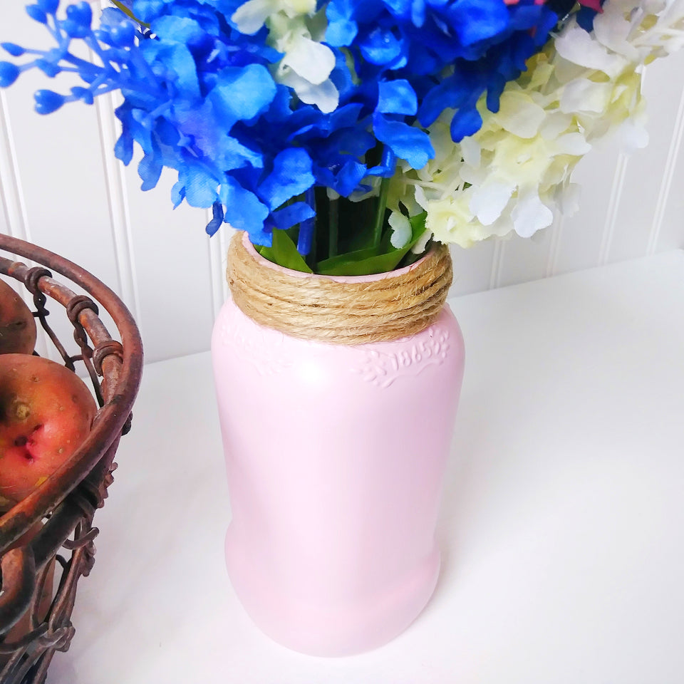Adorable chic pastel pink mason jar flower vase modern country place adorable chic pastel pink mason jar flower vase designed by gerardo betancourt colored glass reviewsmspy