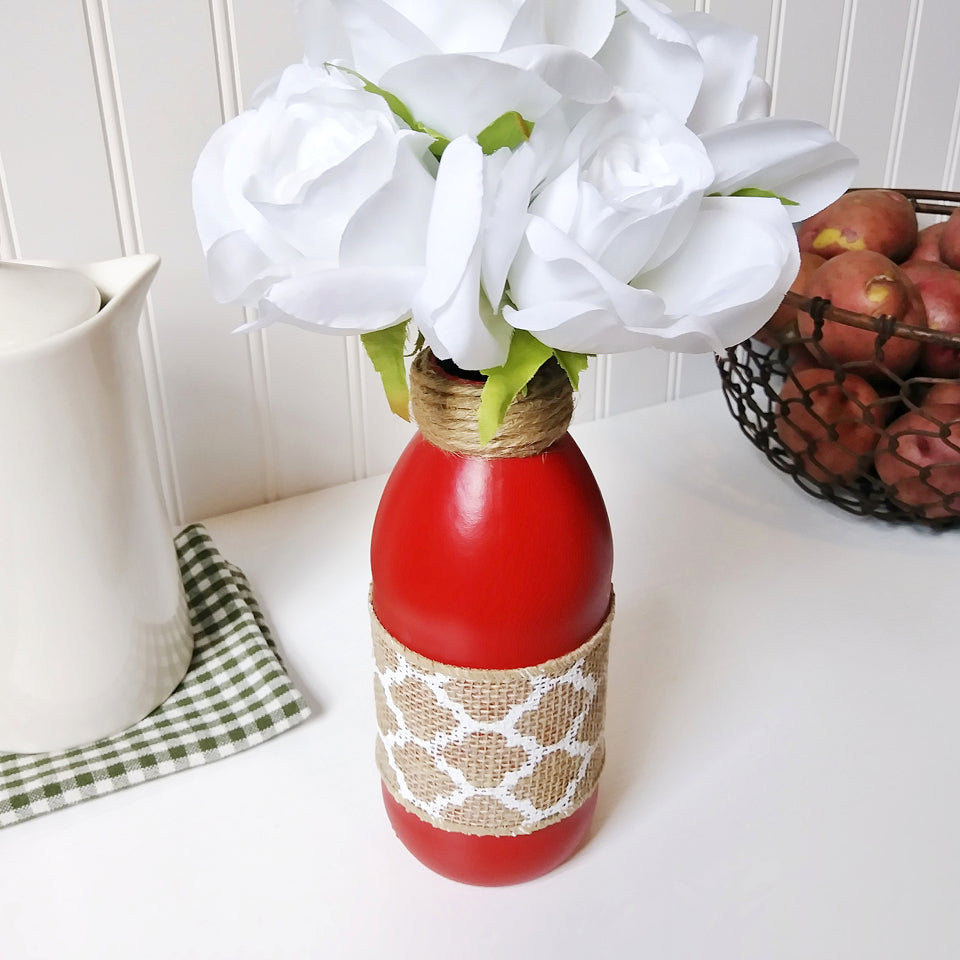Farm Plump Tomato Red Glass Bottle Flower Vase | Modern Country Place