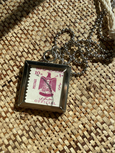 Vintage Stamp Pendant Necklace - Egypt Bird Double-Sided (UAR)