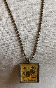 Vintage Stamp Pendant Necklace - New Zealand Butterfly