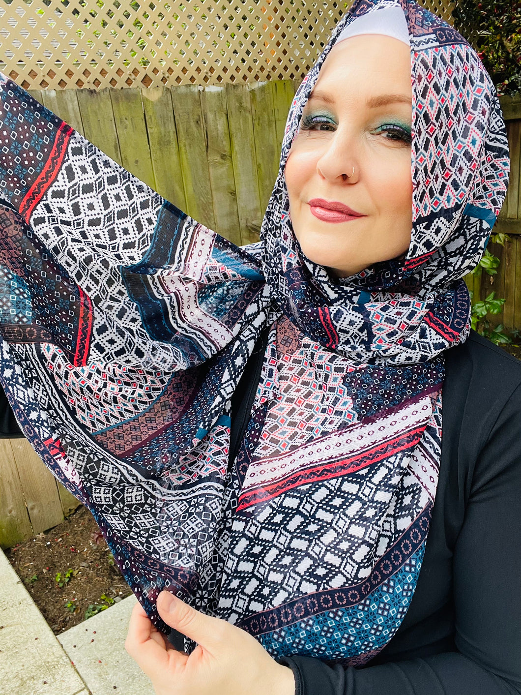 Limited Edition Crinkle Chiffon Hijab: Old School Geo Print