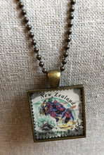 Vintage Stamp Pendant Necklace - New Zealand White Water Rafting