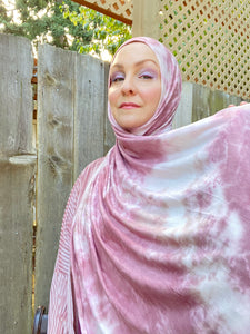 Limited Edition Tie Dye Jersey Hijab: Dusty Rose