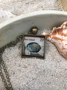 Vintage Stamp Pendant Necklace - New Zealand Abalone