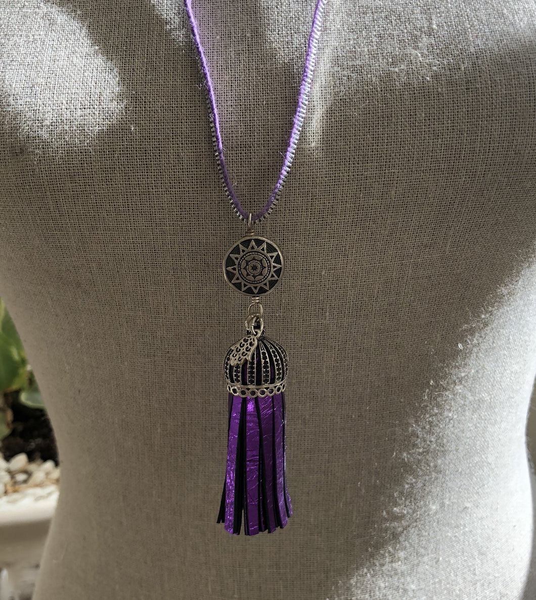 Leather Tassel Necklace - Lavendar & Purple