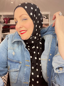 Limited Edition Printed Jersey Hijab: Polka Dots