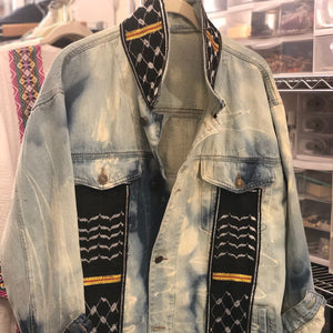 Palestinian Black Kuffiyah Oversized Long Jean Jacket