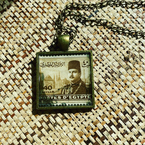Vintage Stamp Pendant Necklace - Egypt