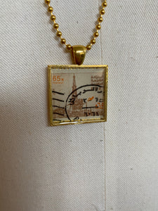 Vintage Stamp Pendant Necklace - KSA Saudi