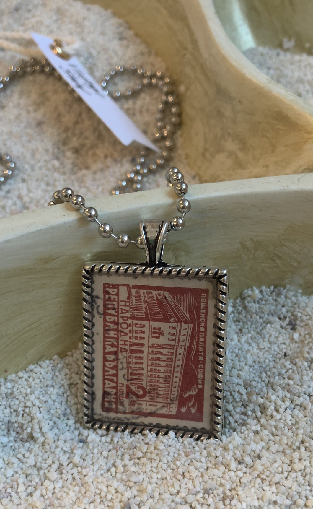 Vintage Stamp Pendant Necklace - Bulgaria