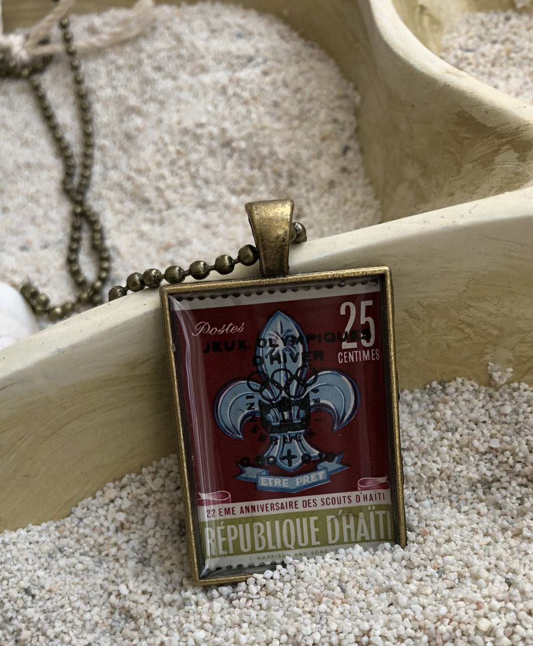 Vintage Stamp Pendant Necklace - Haiti, Scouts Anniversary