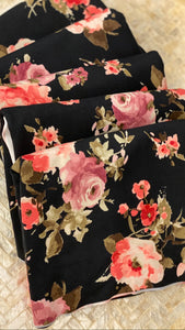 NEW! Brushed Jersey Hijab - Limited Edition: Slip-on - Black Watercolor Floral