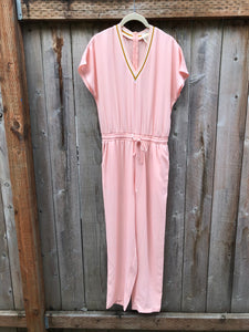 V-Neck Athletic Jumpsuit - Peachy Pink